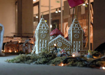 a two-towered church from gingerbread
