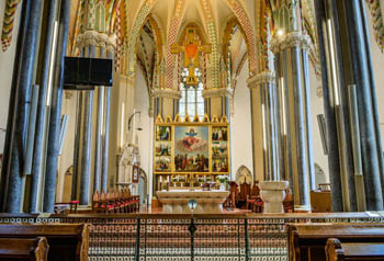 the main nave and altar of the church
