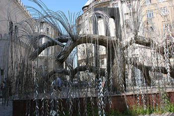 the tree of life holocauts memorial: a metal weeping willow tree