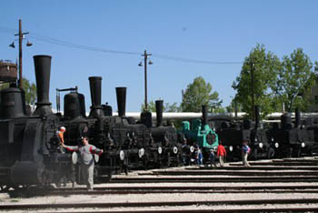 old steam locomotives in the museum park