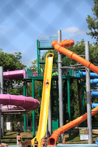 giant slides: yellow, orange and purple coloured