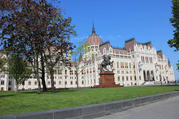 western side of the parliament, the Rákoczy equestrian statue in the foreground