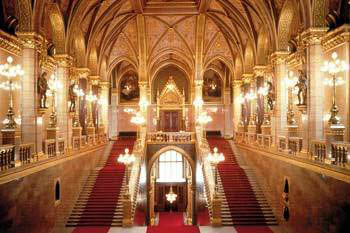 the grand staircase covered with red carpet