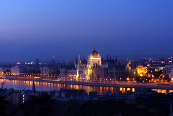 the parliament illuminated, at the blue hour