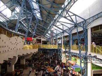 the metal frame d multilevel interior of the Lehel market hall