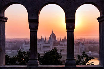 view of the Parliament from the arcade of the bastion at sunrise