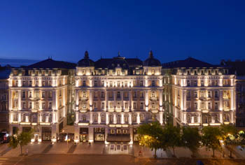 Corinthia Hotel Budapest illuminated at night
