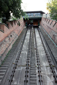 funicular with a car going upwards on the rails