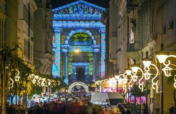 Xmas fair lights on Andrassy Av. and the Basilica at night