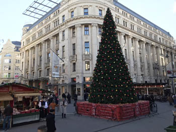 Christmas tree on Vorosmarty Square at daytime